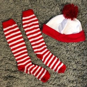 Where's Waldo Halloween Costume Hat and Socks